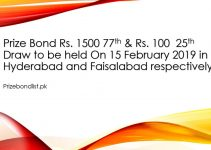 Prize Bond Rs. 1500 77th & Rs. 100 25th Draw to be held On 15 February 2019 in Hyderabad and Faisalabad respectively