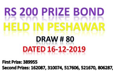 Draw # 80 Rs 200 Prize Bond Held in Peshawar 16 Dec 2019