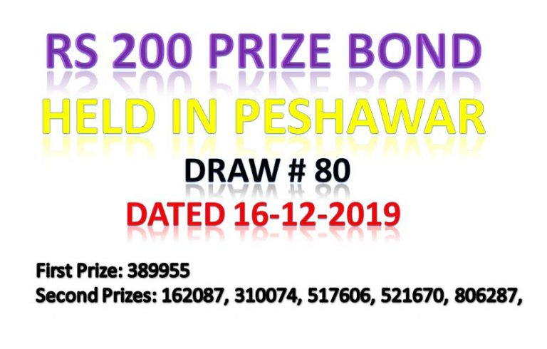 Rs.200 prize bond draw Full Result December 16, 2019, draw# 80 Announced