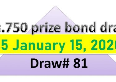 Draw 81 Rs. 750 Prize Bond List Karachi 15 January 2020