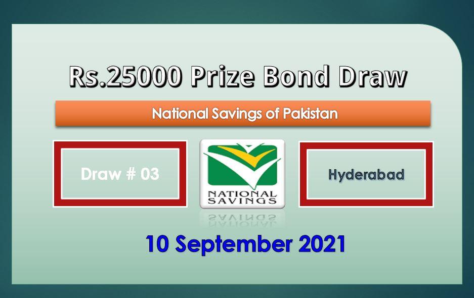 Rs. 25000 Premium Prize bond Hyderabad 10 September 2021